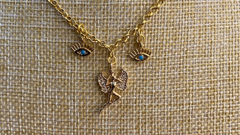 Gold plated chain with fairy and eye charms