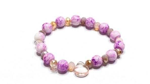 Pink beaded bracelet glass tear drop adornment