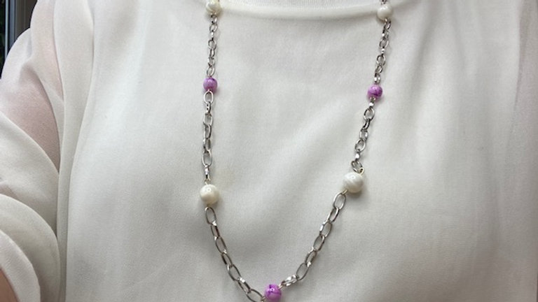 Mother of Pearl and pink beaded necklace
