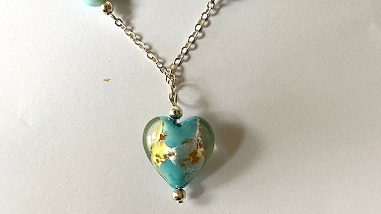 Turquoise blue heart pendant