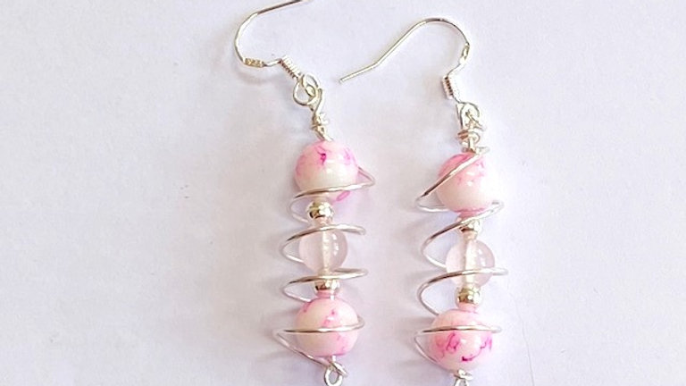 Pink Porcelain and rose quartz caged beaded earrings