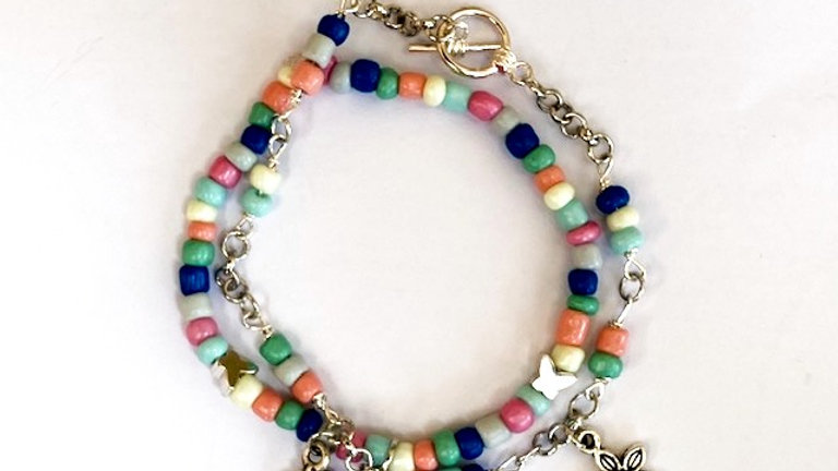 Duo mixed seed bead and charm bracelets