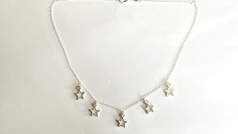 Silver plated short star necklace