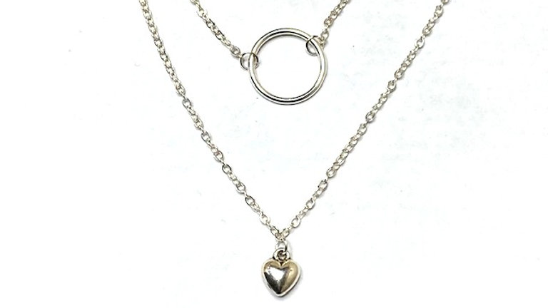 Silver plated two tiered necklace