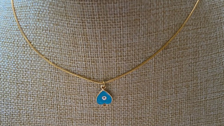 Gold plated chain with blue enamel eye charm