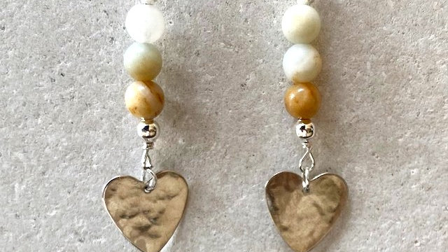 Agate beads and silver heart earrings