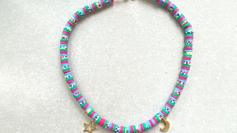 Mixed heishi bead choker with gold plated charms
