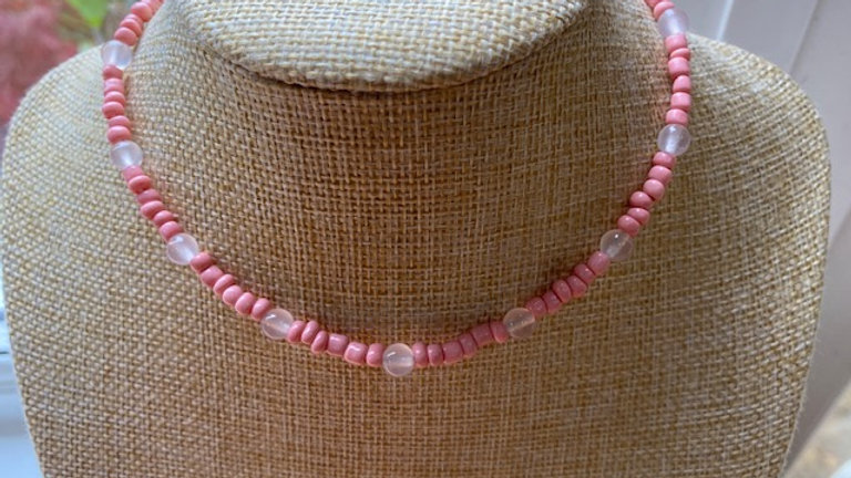 Pink rose quartz and seed bead necklace