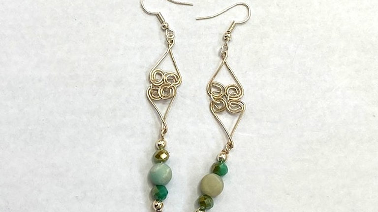 Green Dangly earrings with frosted amzonite beads