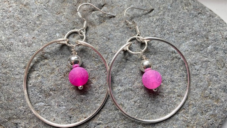 Pink frosted agate silver plated earrings