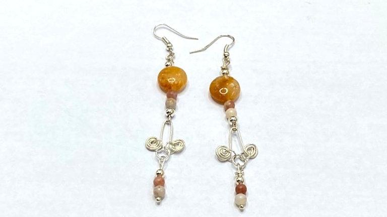 Tan beaded dangly earrings