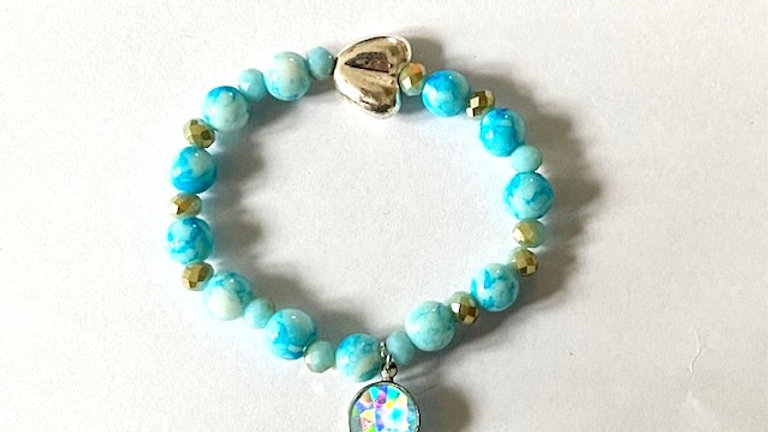 Turquoise blue bracelet with recycled heart charm