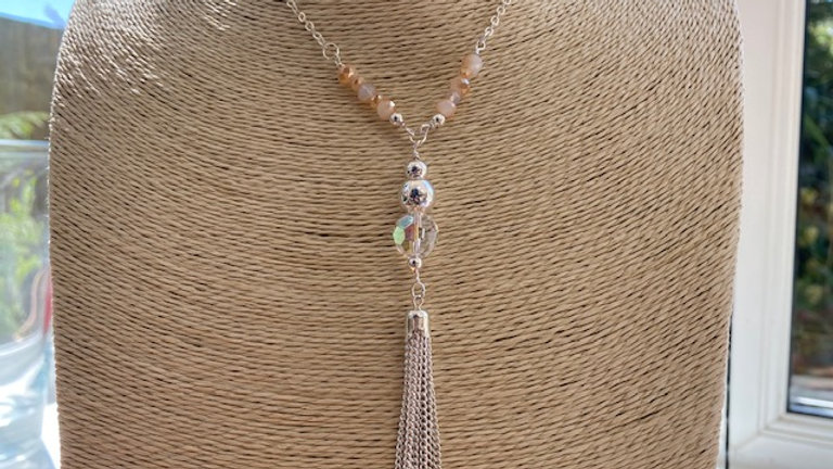 Silver bead and tassel pendant