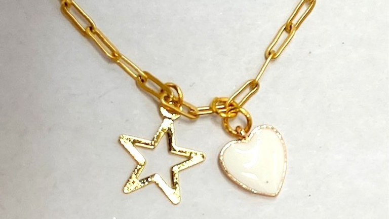 Gold plated short chain with star and heart charms