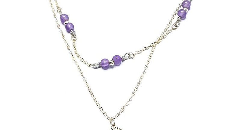 Tiered necklace with purple beads