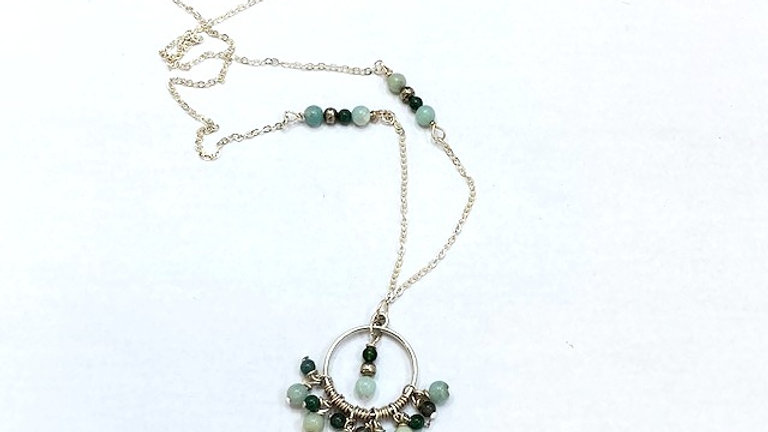 Green Amzonite and agate beaded pendant