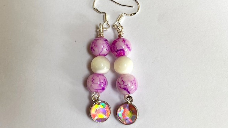 Pink Dangly dyed porcelain beaded earrings