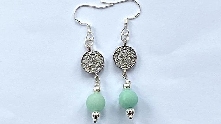 Turquoise semi precious bead and rhinestone earrings