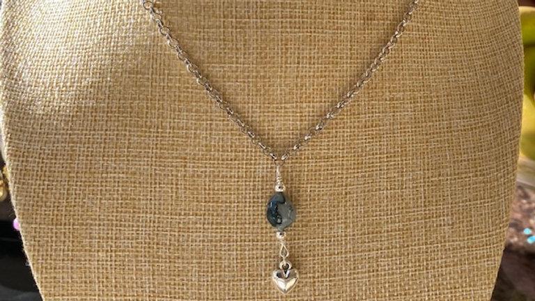 Blue Semi Precious stone pendant with silver charm