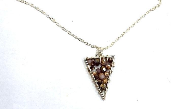 Triangle purple beaded pendant