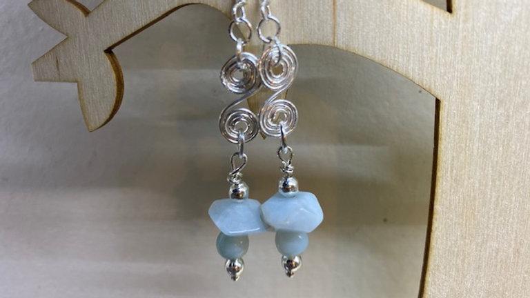 Pale blue semi precious beaded earrings