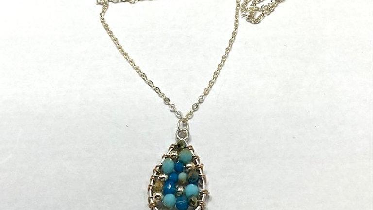 Tear drop blue beaded pendant