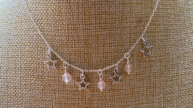 Rose quartz and silver star necklace