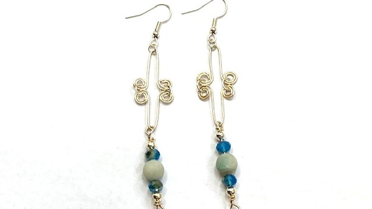 Blue Dangly earrings with frosted amzonite beads