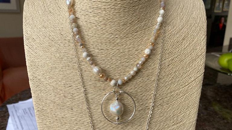 Short cream beaded pendant