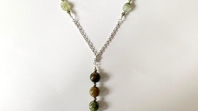 Dark green recycled beaded pendant