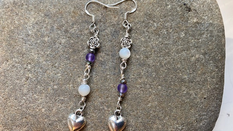 Purple and white agate dangly earrings
