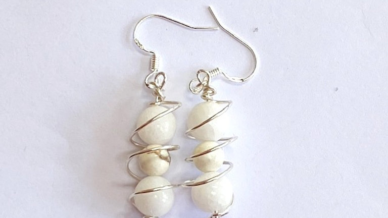 White jade and cream howlite caged earrings