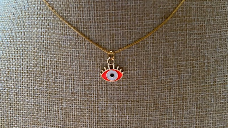 Gold plated chain with orange eye charm