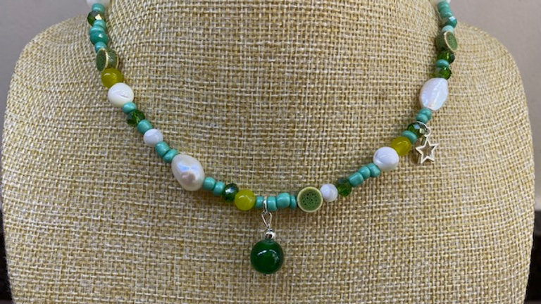 Short Summer green beaded necklace