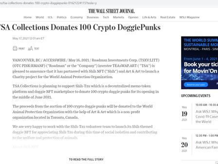 华尔街日报报道   TSA Collections Donates 100 Crypto Shih Doggie PunksNFT