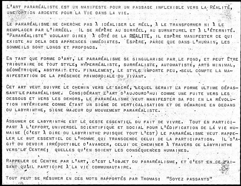 Manifeste d'art para-réaliste, groupe Para Jordi Bonet 1976 Montréal Québec.