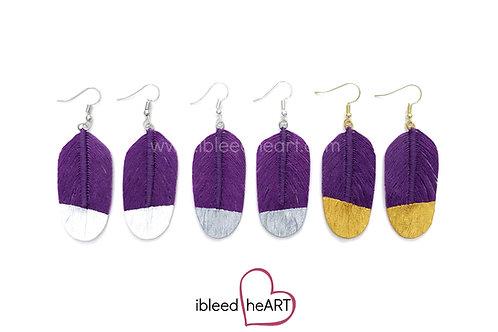 Plum Purple Feather Earrings