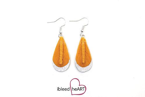 White Metallic Dipped Yellow Orange Teardrop Shape - #t13