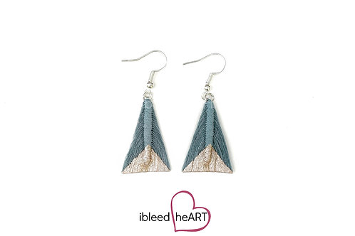 Rose Gold Dipped Blue Gray Triangle Shape - #tr50
