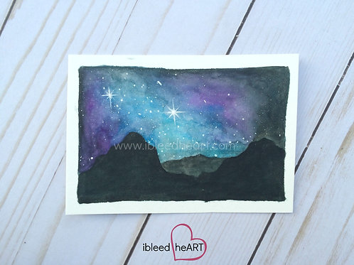 Milky Way over Mountains Painting