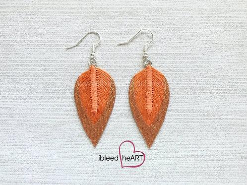 Copper Dipped Pale Orange Long Teardrop Shape - #72