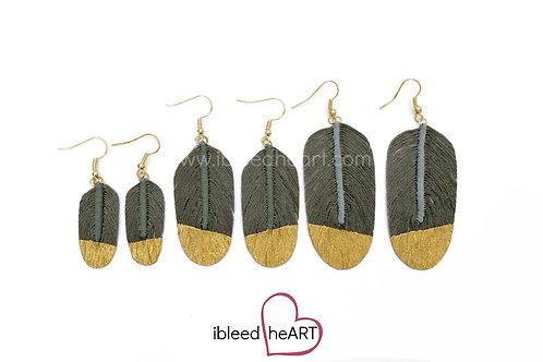 Dark Gray Feather Earrings