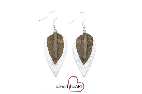 Metallic White Dipped Gray Brown Long Teardrop Shape - #296