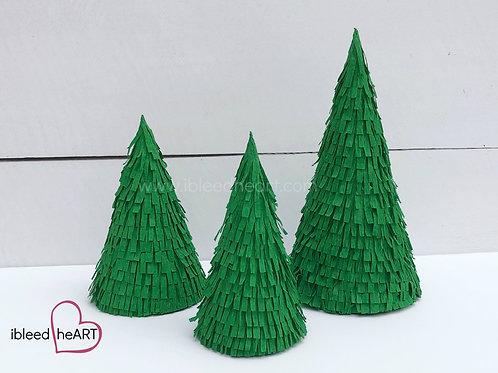 Set of 3 Dark Green Trees