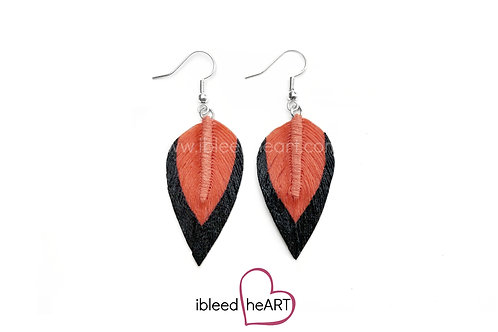 Black Dipped Soft Orange Teardrop Shape - #31