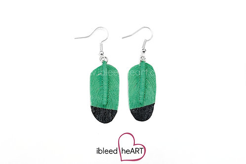 Black Dipped Green Oval Shape - #201