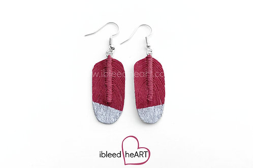 Silver Dipped Red Pink Oval Shape - #106