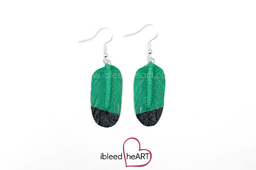 Black Dipped Green Oval Shape - #203