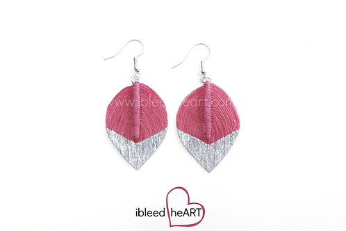 Silver Dipped Pink Short Teardrop Shape - #93