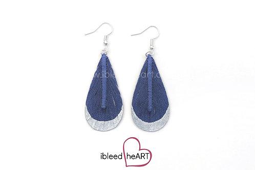 Silver Dipped Blue Teardrop Shape - #t19